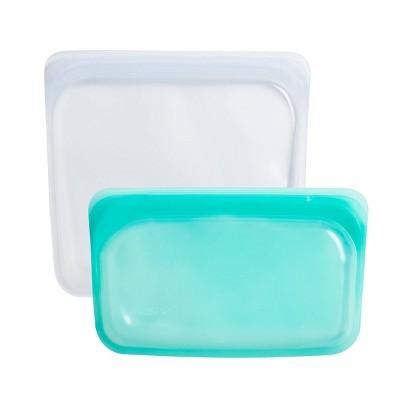 Stasher 2pk Reusable Platinum Silicone Bag - Clear & Aqua