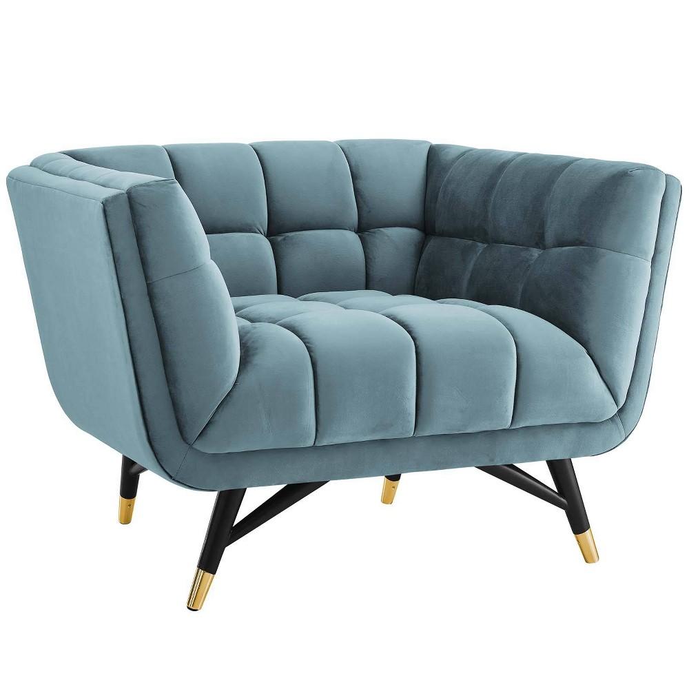 Adept Upholstered Velvet Armchair Sea Blue - Modway
