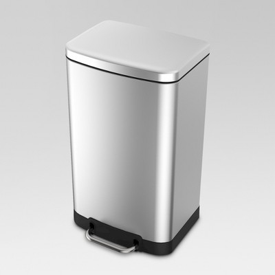 40 Liter Rectangle Trash Can - Stainless Steel - Threshold