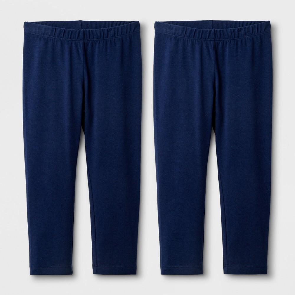 Girls' 2pk Capri Leggings - Cat & Jack Navy XL, Blue