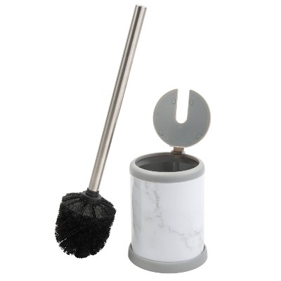Toilet Brush with Self Closing Lid Marble - Bath Bliss