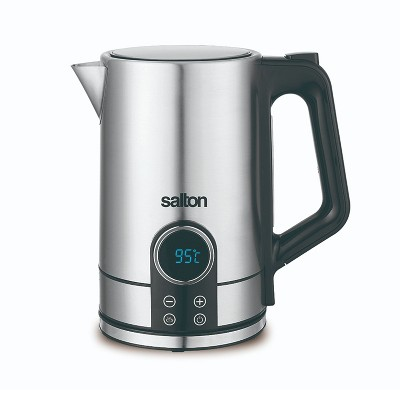 Salton 1.7 Liter/Quart Digital Stainless Steel Electric Kitchen Hot Water Tea Kettle Pot with Boil Dry Automatic Shutoff, Silver