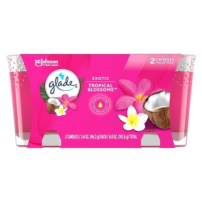 Glade Exotic Tropical Blossoms Twin Candle - 2pk/6.8oz