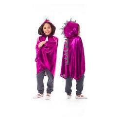 Little Adventures Girls' Dragon Cloak - Magenta/Silver, Size: Medium/Large, Pink/Silver
