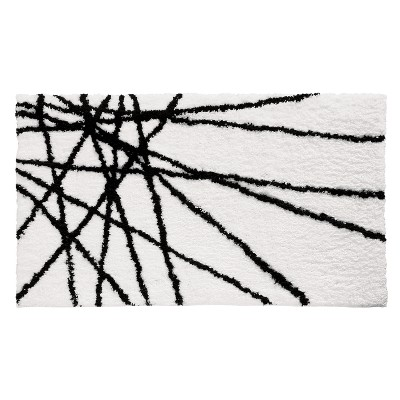 Abstract Bath Rug Black/White - iDESIGN