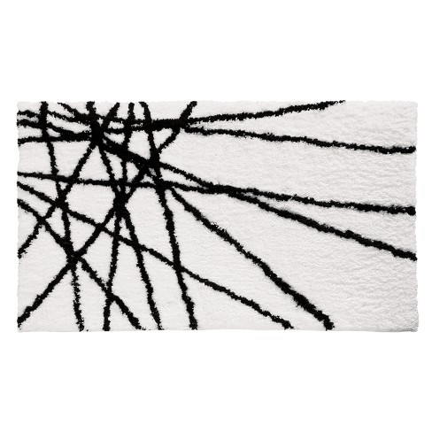 Abstract Bath Rug 21x34 Black White Idesign