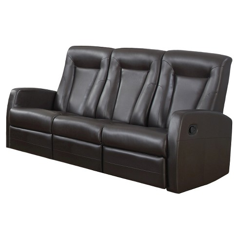 Bonded Leather Reclining Sofa Everyroom