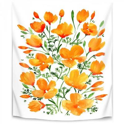 Watercolor California Poppies by Blursbyai Wall Tapestry