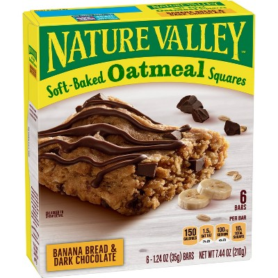 Nature Valley Banana Bread & Dark Chocolate Soft-Baked Oatmeal Squares - 7.44oz/6ct