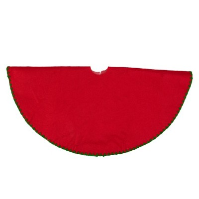 "Northlight 26"" Red with Green Shell Stitching Mini Christmas Tree Skirt"
