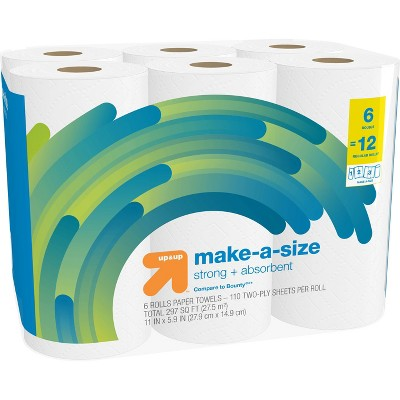 Make-A-Size White Paper Towels - 6 Double Rolls = 12 - up & up™