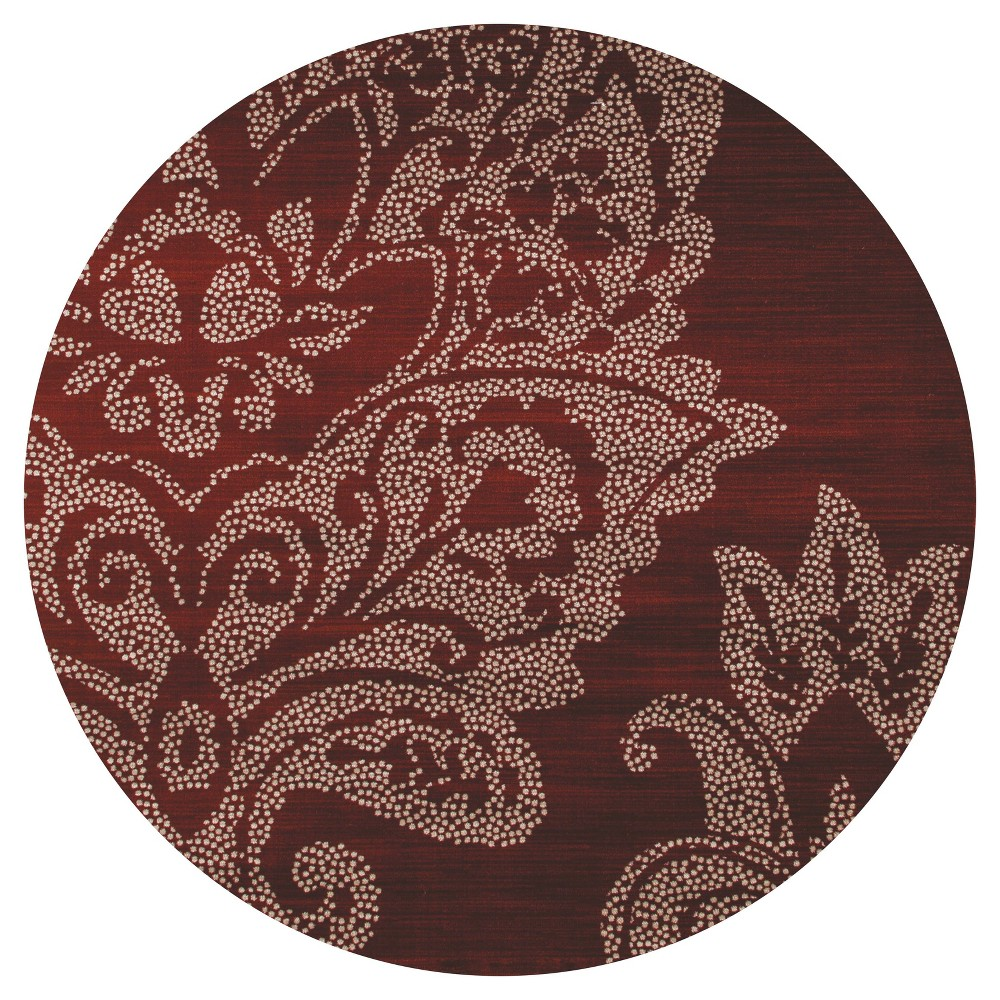 Red Classic Woven Round Area Rug - (5') - Art Carpet