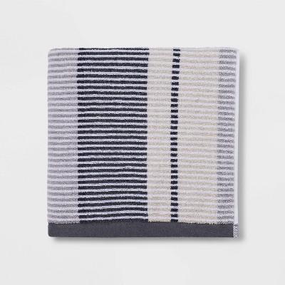 Stitch Striped Bath Towel Gray - Threshold™