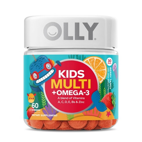 Olly Kids Multivitamins Omega-3 Dietary Supplement Gummies - Berry Tangy - 60ct - image 1 of 4