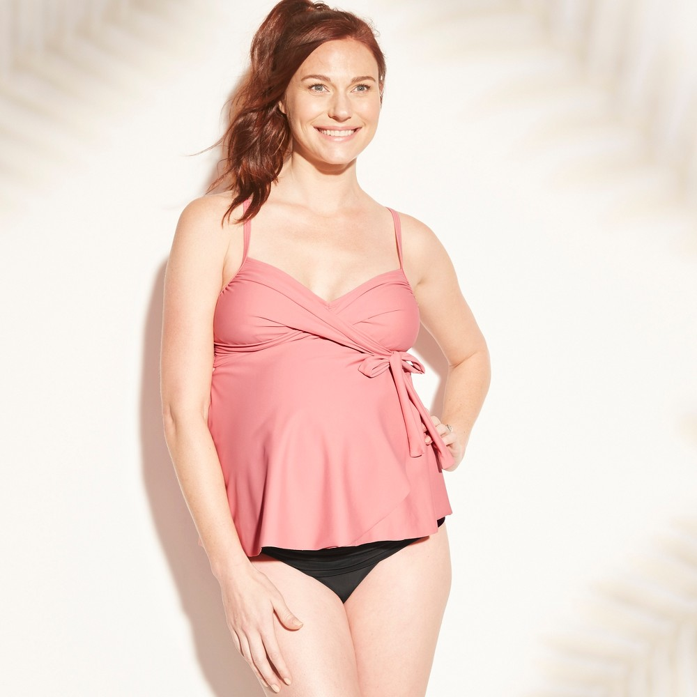 Maternity Side Tie Wrap Tankini Top - Isabel Maternity by Ingrid & Isabel Rose M, Women's, Pink
