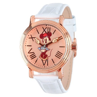 Women's Disney Minnie Mouse Shinny Vintage Articulating Watch with Alloy Case - White