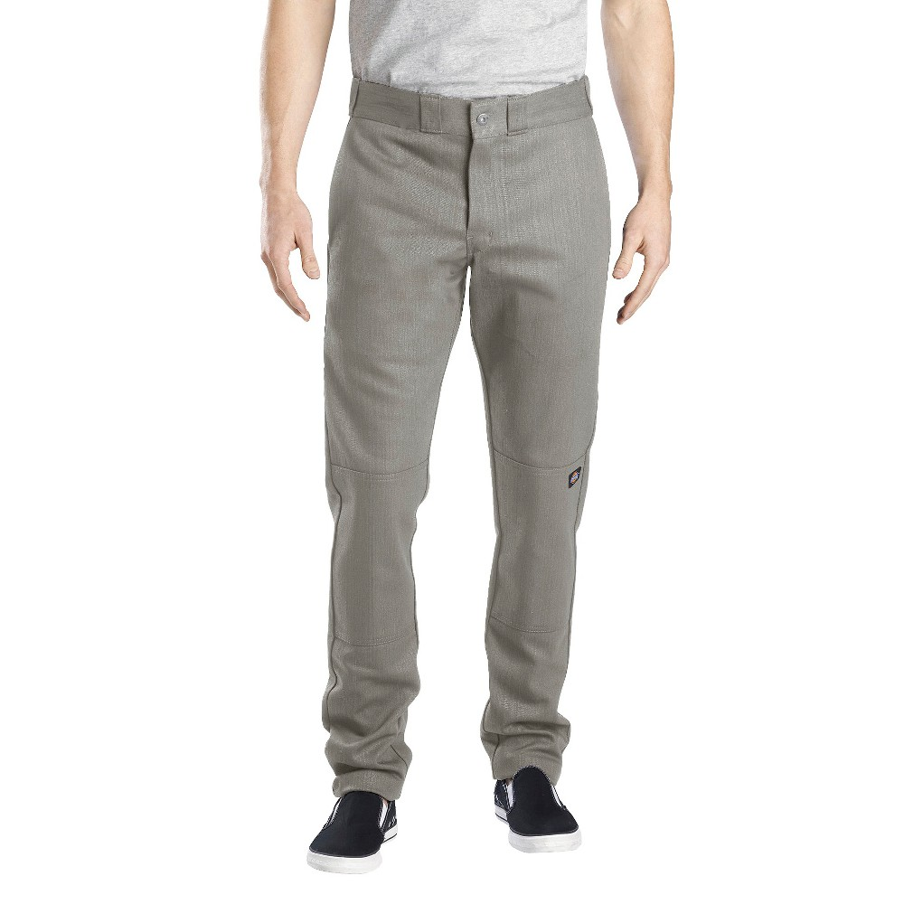 Dickies Men's Skinny Straight Fit Flex Twill Double Knee Pants- Silver Gray 38x32