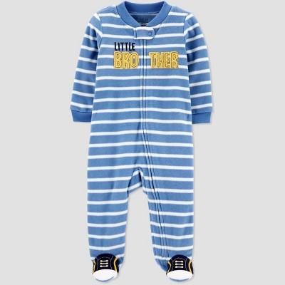 Baby Boys' Little Brother Striped Fleece Sleep 'N Play - Just One You® made by carter's Blue Newborn