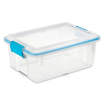 Sterilite 12qt Gasket Box Clear With Blue Latches