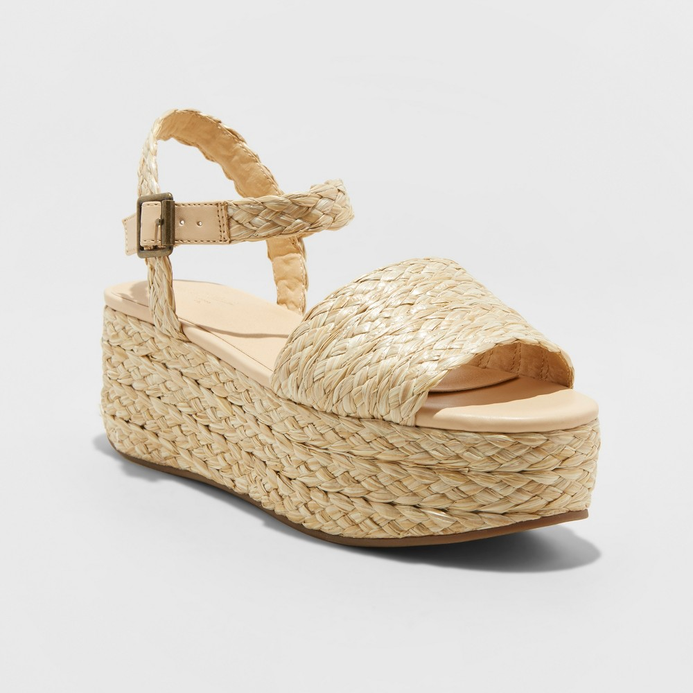 8c9b291b27 Womens Aurora Straw Espadrille Wedges Universal Thread Tan 95 Beige