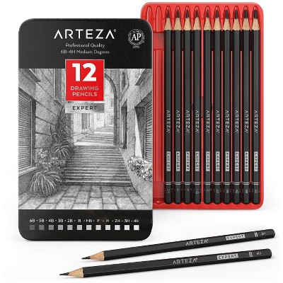 Arteza Professional Graphite Drawing Pencils, Pack of 12