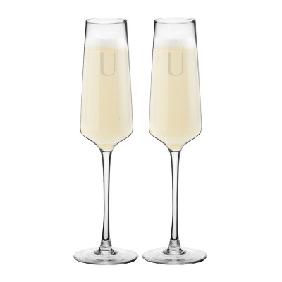 9.5oz 2pk Monogram Estate Champagne Glasses U - Cathy's Concepts