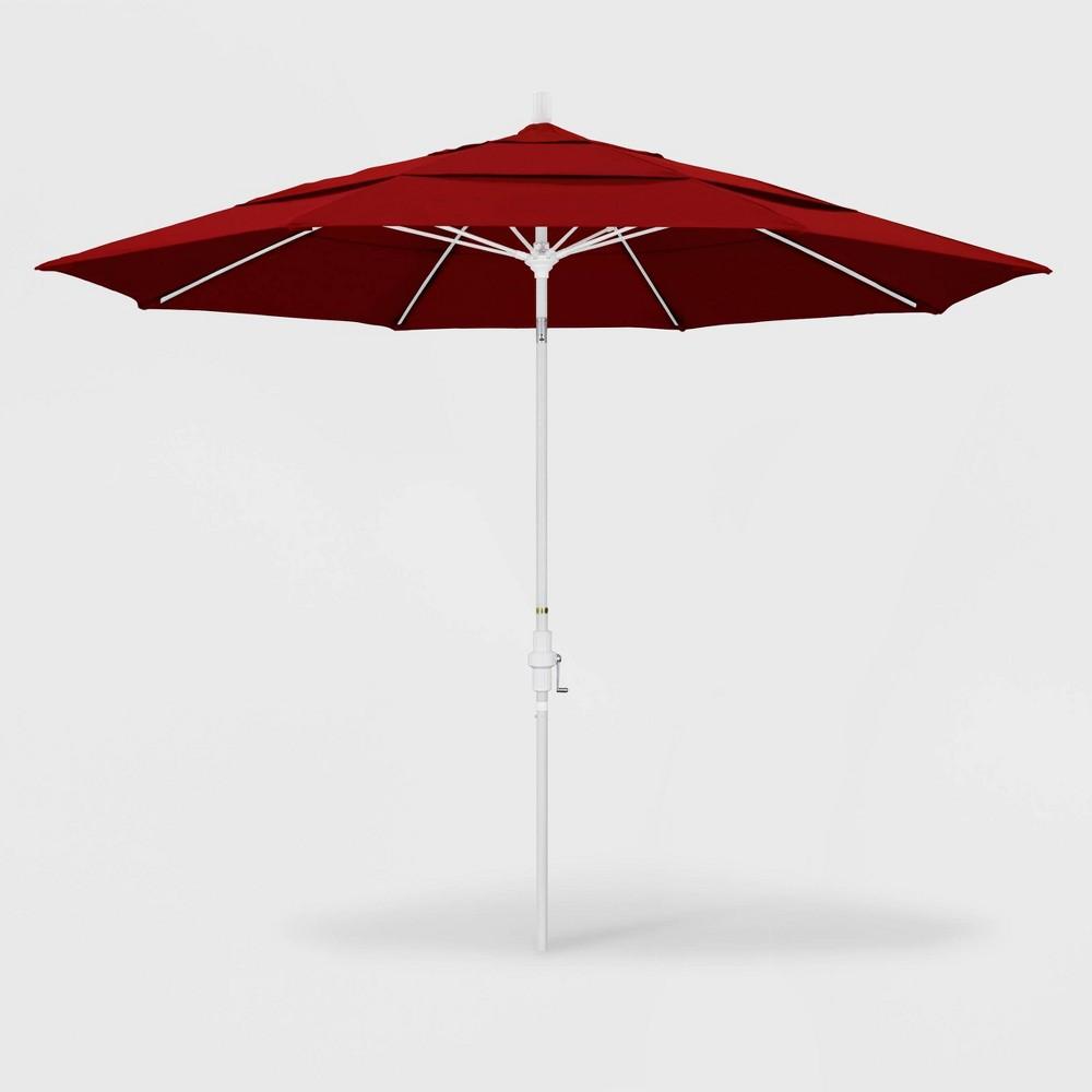 Image of 11' Sun Master Patio Umbrella Collar Tilt Crank Lift - Sunbrella Jockey Red - California Umbrella