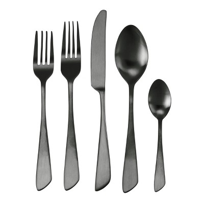 20pc Stainless Steel Gibbous Silverware Set Black - MegaChef