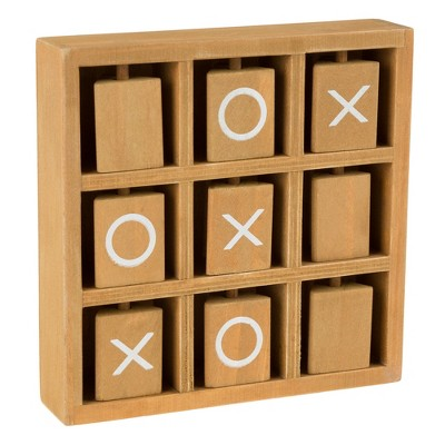 Toy Time Tic-Tac-Toe Small Wooden Travel Game With Fixed, Spinning Pieces