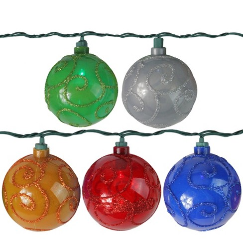 Northlight 10 Multi-Color LED Glitter Swirled Ball Globe Patio Christmas Lights - 7.5 ft Green Wire - image 1 of 2