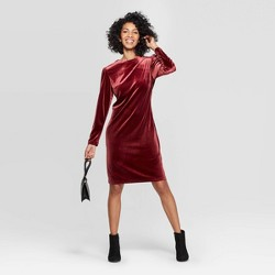 Women's Long Sleeve Crewneck Velvet Dress - A New Day™