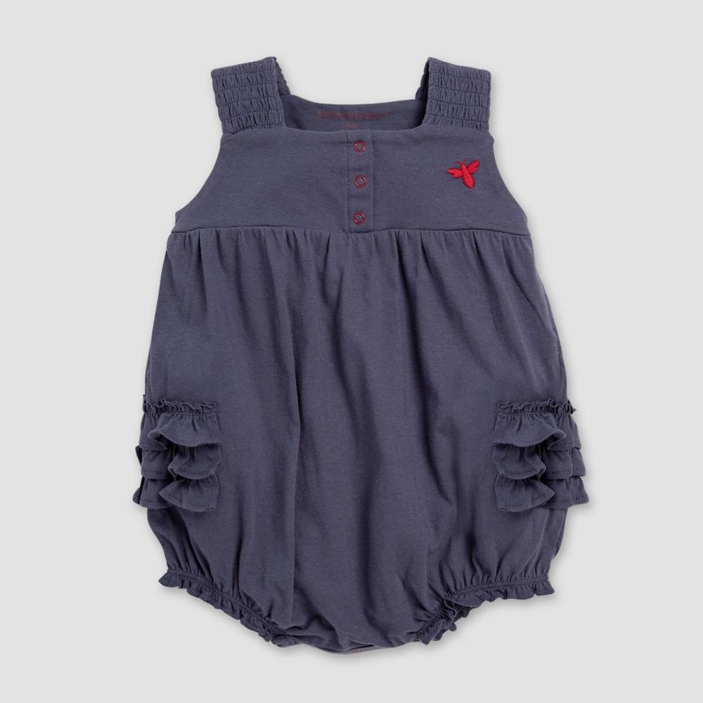 Burt's Bees Baby Baby Girls' Ruffled Bubble Bodysuit - Navy Blue 0-3M