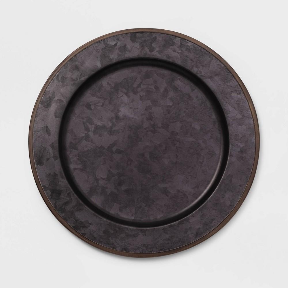 "Image of ""13"""" Metal Galvanized Decorative Charger Black - Threshold"""