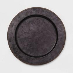"13"" Metal Galvanized Decorative Charger Black - Threshold™"