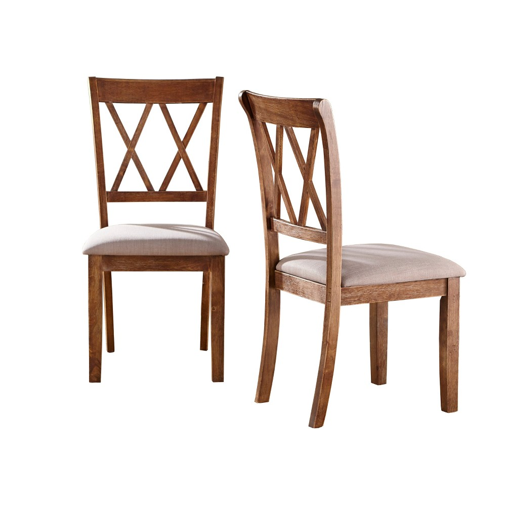Set of 2 Roma Cross Back Dining Chairs Driftwood (Brown) - Buylateral