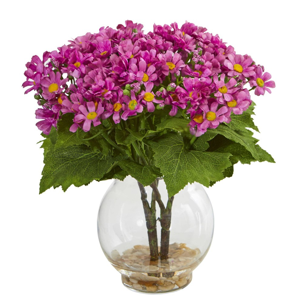 "Image of ""10"""" x 7"""" Artificial Daisy Arrangement in Glass Vase Mauve - Nearly Natural"""