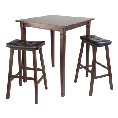 3pc Kingsgate Counter Height Dining Set with Cushion Seat Wood/Walnut/Black - Winsome