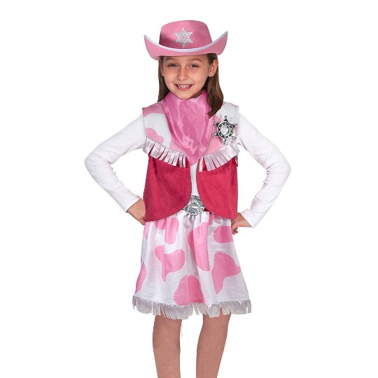 Melissa & Doug Cowgirl Role Play Costume Set (5pcs) - Skirt, Hat, Vest, Badge, Scarf, Adult Unisex, Size: Small, Gold/Pink/White image number null