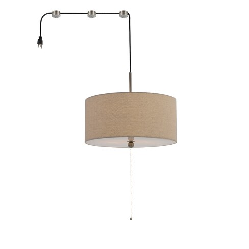 Swag Drum Pendant Fixture With 15ft Cord Plug And 3 Hangers Linen Light Brown 11 5 X14 Cal Lighting