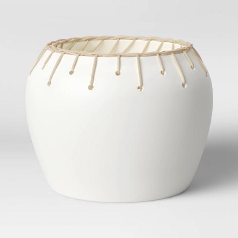 "7"" x 9"" Rattan Ceramic Table Planter White - Opalhouse™ - image 1 of 3"