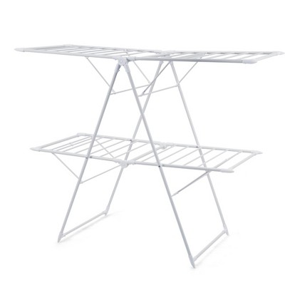 Costway Foldable Clothes Drying Rack 2-Level Airer w/ with Height-Adjustable Gullwings