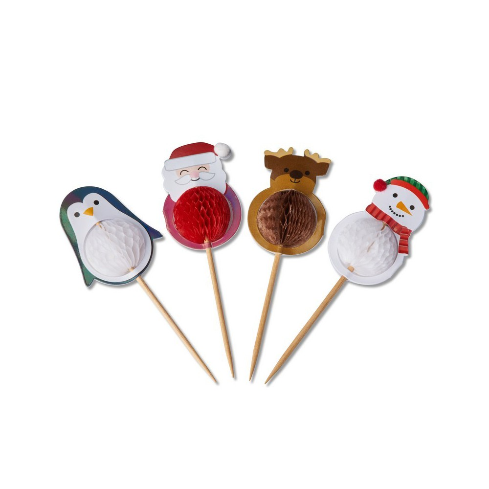 Papyrus Honeycomb Holiday Characters Party Picks, Multi-Colored