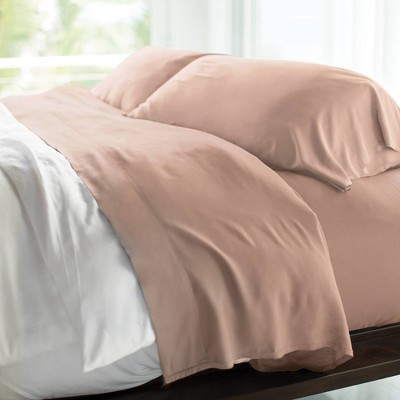 Queen 400 Thread Count 100% Rayon from Bamboo Resort Sheet Set Blush - Cariloha