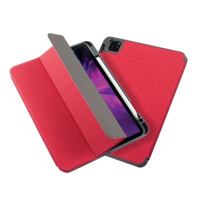 """Insten - Soft TPU Tablet Case For iPad Pro 11"""" 2020, Multifold Stand, Magnetic Cover Auto Sleep/Wake, Pencil Charging, Red"""