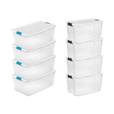 Sterilite 106 Quart Latching Storage Container (4 Pack) + 70 Quart Tote (4 Pack)