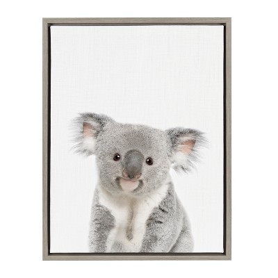Kate & Laurel 24 x18  Sylvie Baby Koala Animal Print Portrait By Amy Peterson Framed Wall Canvas Gray