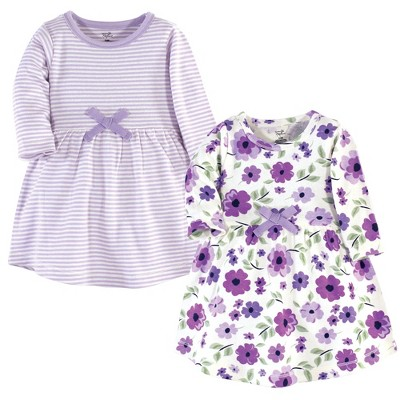 Touched by Nature Baby and Toddler Girl Organic Cotton Long-Sleeve Dresses 2pk, Purple Garden