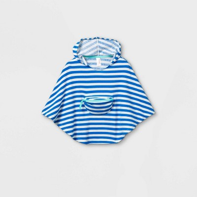 Toddler Girls' Striped Beach Poncho Cover Up - Cat & Jack™ Blue