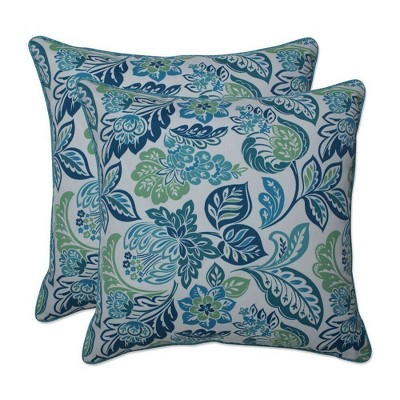 2pc Outdoor/Indoor Throw Pillows Dailey Opal Blue - Pillow Perfect