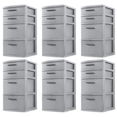 Sterilite 26226A02 Plastic 4 Drawer Organizer Storage Tower with Medium Weave Drawer Fronts and Easy-Pull Handles, Gray (6 Pack)